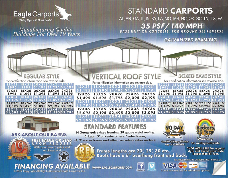 Blue Ridge Barns and Eagle carports, manufacturing quality buildings for over 19 years